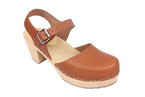 Lotta From Stockholm Highwood High Heel Clogs Tan Leather 10 EUR (Tan Leather High Heel)