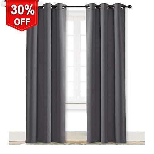 NICETOWN Gray Curtain Blackout Drape Panel Three Pass Microf