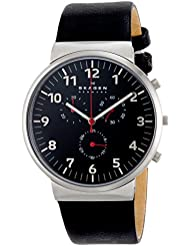Skagen Mens SKW6100 Ancher Black Leather Watch