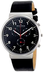 Skagen Men's SKW6100 Ancher Quartz/Chronograph Stainless Steel Watch With Black Leather Band
