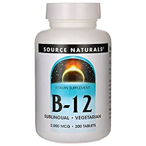 SOURCE NATURALS Vitamin B-12 2000 Mcg Lozenge, 200 Count