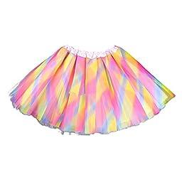 Dobelove Girls Solid Color Dance Tutu Pettiskirt 1-10T (A-Muti)