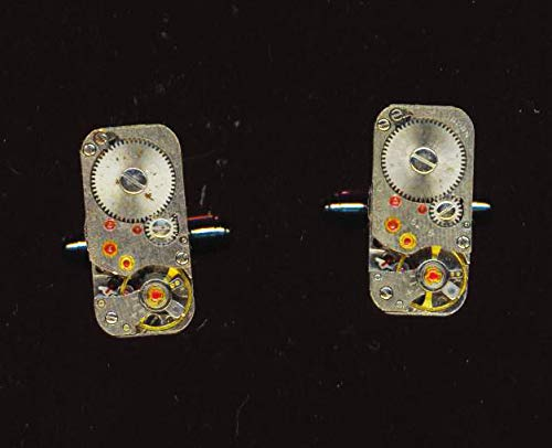 (Father's Day Vintage Rectangle Watch Movement Cufflinks Father's Day Gift)