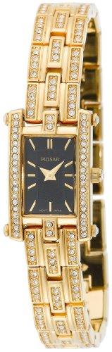 Black Jeweled Ladys Watch - Pulsar Women's PEGE26 Swarovski Crystal Jeweled Gold-Tone Black Dial Watch