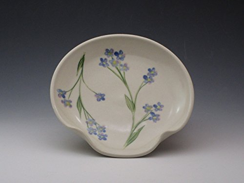 Porcelain Spoon Rest, Handpainted in Forget Me Not Design