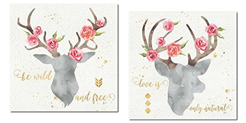 Gango Home Décor Lovely Watercolor-Style Floral Deer Head Silhouette by Jess Aiken; Cabin Decor; Two 12x12in Posters. Grey/Gold/Pink (Floral Wall Art Metal Silhouette)