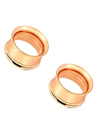 Pair of Double Flared Screw Fit Tunnel Plug Rose Gold IP Over 316L Surgical Steel Earlets E536 8 Gauge to 1 Inch
