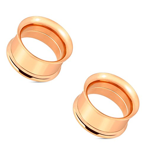 Pair of Double Flared Screw Fit Tunnel Plug Rose Gold IP Over 316L Surgical Steel Earlets E536 8 Gauge to 1 Inch (00GA (10mm))