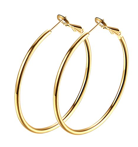 Hoop Earrings, 18K Gold Plated Rounded Hoops Earrings for Women Girls ()