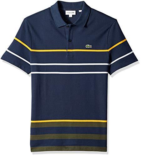 Lacoste Men's Short Sleeve REG FIT Striped Colorblock Pique Polo, Meridian Blue/Baobab/pomme, 4X-Large