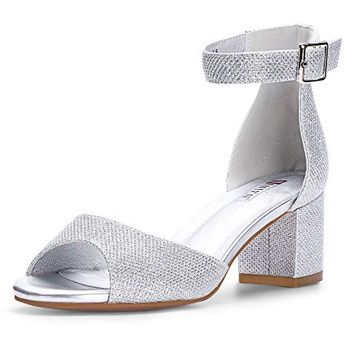 (IDIFU Women's IN2 Candie Low Chunky Block Heel Pump Heeled Sandals Buckle Ankle Strap Peep Toe Dress Shoes (5.5 M US, Silver)