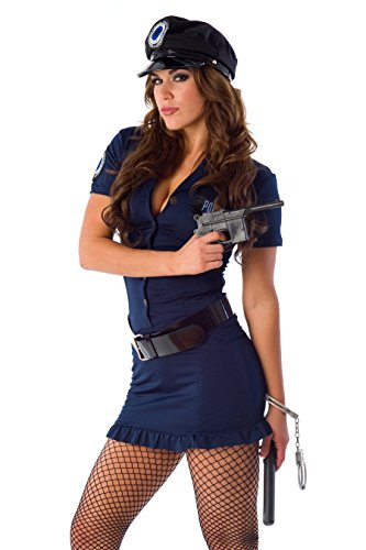 [Velvet Kitten Blue and Black Sexy Police Officer Costume in Large] (Costumes For Women Cop)
