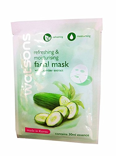 [2 Mask sheets of Watsons Refreshing & Moisturising Facial Mask with Cucumber Extract. Made in Korea. (30 Ml Essence/] (Doctor Watson Costume)
