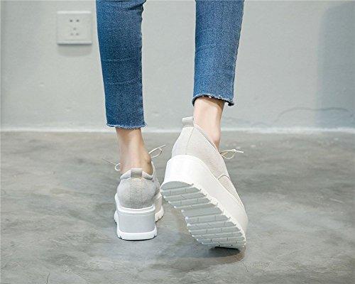 Atmungsaktive Höhe PU Up Kunstleder Mode Schuhe Unteren Neue Herbst Schuhe Freizeitschuhe Lace Erhöhen Womens 2018 Oxford B Schuhe Style Dicken Academy 38 Sommer Damen T6n8H