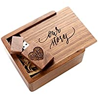 Wooden Walnut 2.0 USB Flash Drive - Inserted into a Engraved Matching Box with Raffia grass inside. Laser Engraved Our Story Script Design! (16GB)