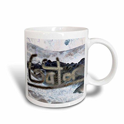 3dRose mug_178415_1 Alligator Invert with Word Gator Ceramic Mug, 11-Ounce