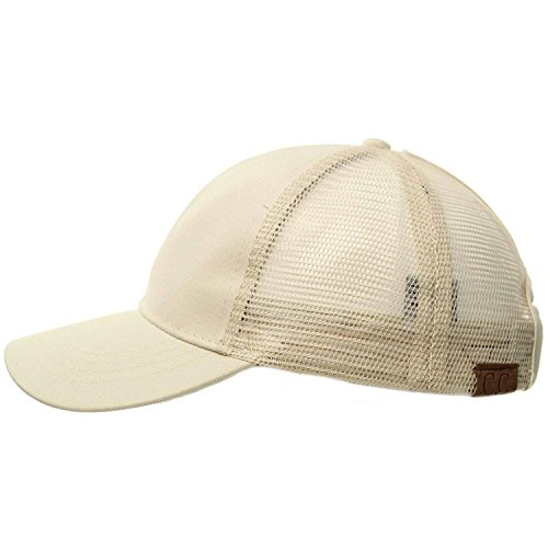 C.C Ponytail Messy Buns Trucker Ponycaps Plain Baseball Visor Cap Dad Hat Beige