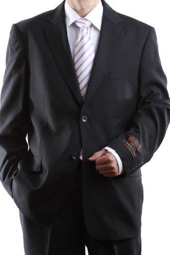 Men's 2 Button Super 150s Extra Fine Black Dress Suit with Flat Front Pants