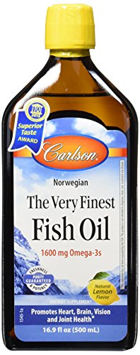 Finest Natural Fish Oil - Carlson The Very Finest Fish Oil, Lemon, Norwegian, 1,600 mg Omega-3s, 500 mL