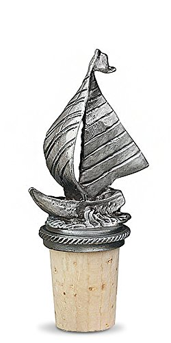 Epic Products Sailboat Pewter Bottle Stopper, 3.25-Inch
