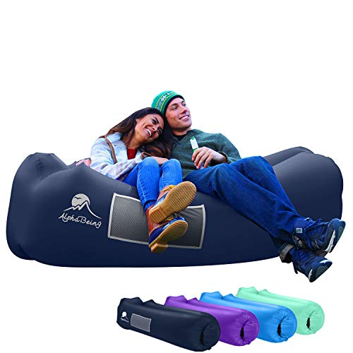 (AlphaBeing Inflatable Lounger - Best Air Lounger for Travelling, Camping, Hiking - Ideal Inflatable Couch for Pool and Beach Parties - Perfect Air Chair for Picnics or Festivals )
