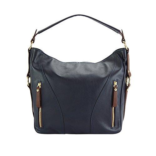 Pelle Market marrone Florence Scuro Leather Vitello A Blu Sabrina Vera 3021 Spalla Borsa In Di 8BAFxBqw