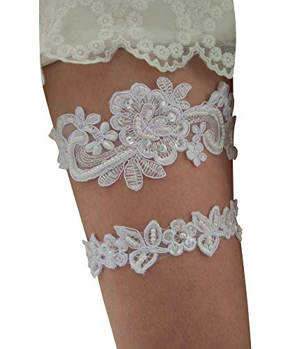 Wedding Set Sequin Pearl - Sequins vintage wedding garter betls set with pearls S05 (White)