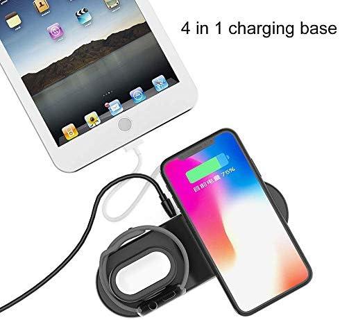 GUDEMN Caricabatterie Wireless, Supporto per Tablet di Ricarica Rapida Multifunzione Qi 4-in-1, Adatto per Apple USB Mobile Phone,Black