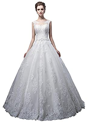 Oailiya Women's A Line Lace Organza Wedding Dress