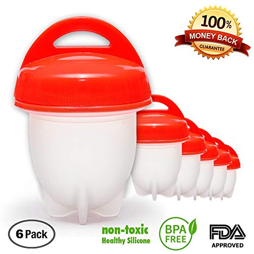 (Upgrade 2018) Egg Cooker Hard & Soft Maker, Use Oil, Non Stick Silicone, Poacher, Boiled, Steamer,JUST LIKE YOU SEE ON TV 6 pack
