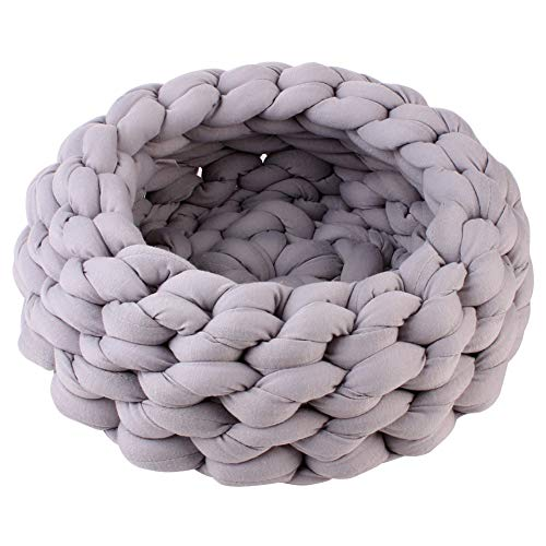 Brave669 Pet Dog Cat Thick Rope Braided Cotton Kennel Nest Soft Cushion Sleeping Bed Grey ()
