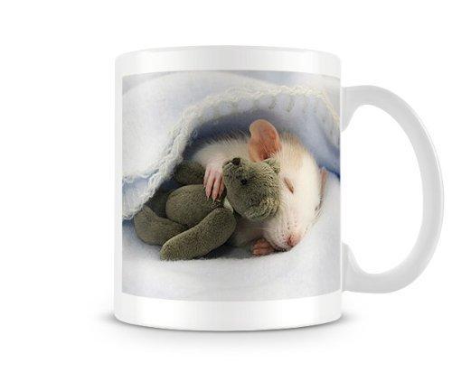 Mensuk Grapefruit Cute Rat Sleeping with teddy bear Animal lovers mug humorous custom personalised mug