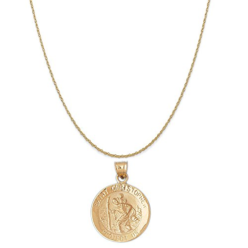 25mm Chain Rope (14k Yellow Gold St. Christopher Pendant on a 14K Yellow Gold Rope Chain Necklace, 18
