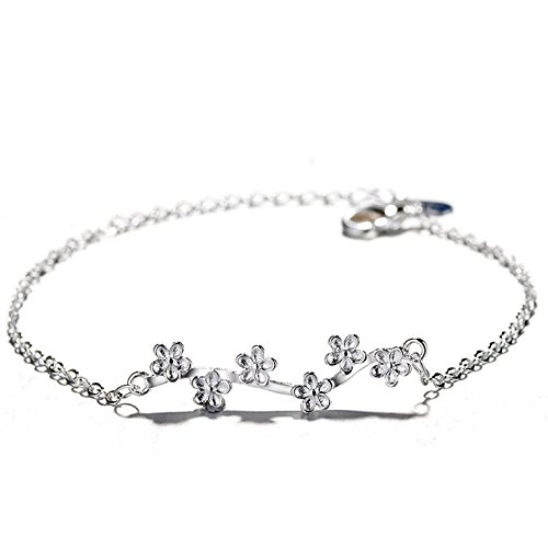 Fine Quality Silver Plated Plum Blossoms Bangle Flower Branch Opening Bracelet