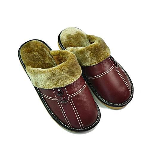 Chaud Marron Qualité Haute En Printemps Plat Chaussures Cuir Maison De Femmes Véritable Pantoufles Intérieur Peluche Accueil Nikimi q78wTax