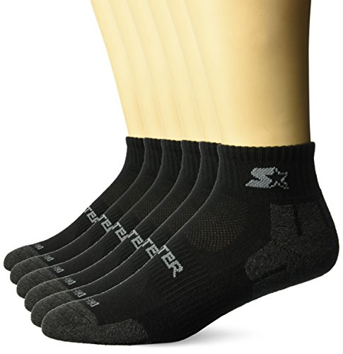 Starter Men's 6-Pack Quarter-Length Athletic Socks, Amazon Exclusive, Black, Medium (Shoe Size 6-8.5)