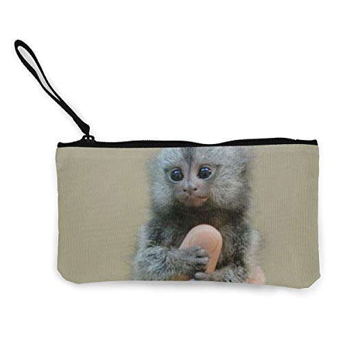Monkey Holder Card (Marmoset and Capuchin Monkeys Womens Canvas Coin Purse Mini Change Wallet Pouch-Card Holder Phone Wallet Storage Bag,Pencil Pen Case)