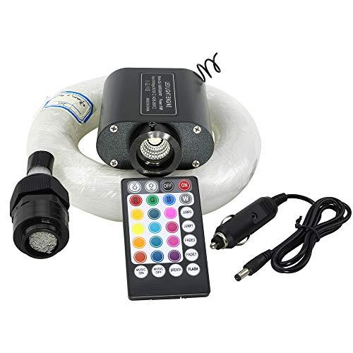 Car Use 16W LED Fiber Optic Star Ceiling Kit RGBW Light, 28 Keys Remote Sound Sensor Musical Lighting 0.03in/0.75mm 0.04in/1mm 0.06in/1.5mm 9.8ft/3m Long 430PCs by Shine