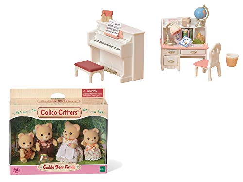 Calico Critters Piano & Desk Set Bundled with Cuddle Bear Family Doll