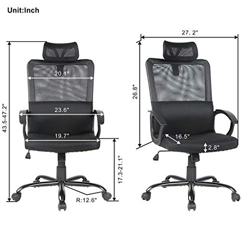Smugdesk Ergonomic Office Chair Adjustable Headrest Mesh Office Chair Office Desk Chair Computer Task Chair (Black) - 2579 by Smugdesk (Image #6)