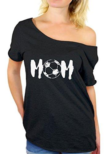 Mom Ball Soccer (Awkward Styles Women's Soccer MOM Motherhood Graphic Off Shoulder Tops T Shirt White Sport Mom Gift Idea Black L)
