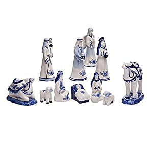 Kurt Adler 1.97-Inch by 6.7-Inch Porcelain Delft Blue 11-Piece Nativity Set 6