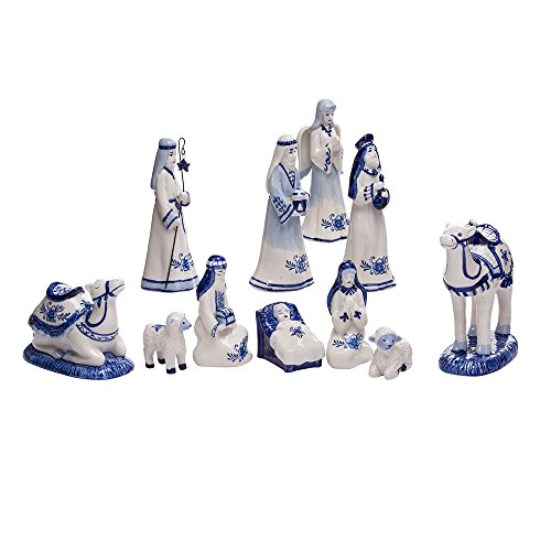 - Kurt Adler 1.97-Inch by 6.7-Inch Porcelain Delft Blue 11-Piece Nativity Set