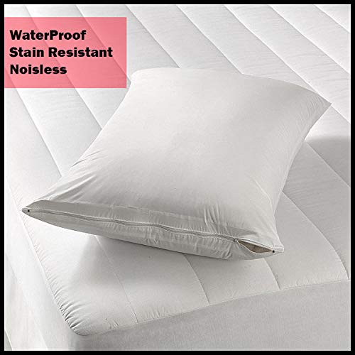 - Waterproof Pillow Protector/Pillowcase Protector with Zipper - Pillow Covers Vinyl Standard Size, by Royal Mystique