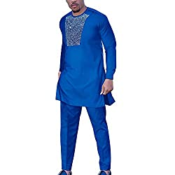 Blue Men Rhinestone Dashiki Shirt