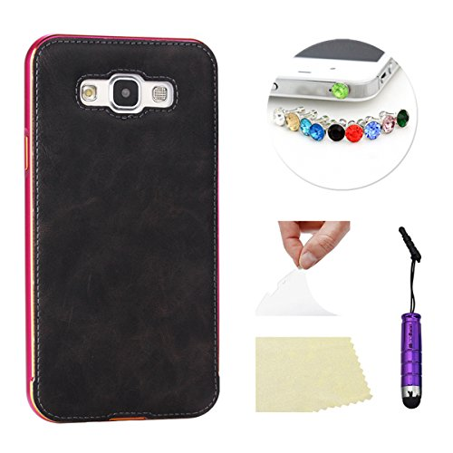 Samsung Galaxy E7 Funda Case LifeePro Stylish 2 in 1 Patrón de teléfono híbrido Caballo Loco [Anti-rasguños] [Antideslizante] Resistente a los golpes PU Cuero Gris Contraportada + Caja de parachoques  Rosado