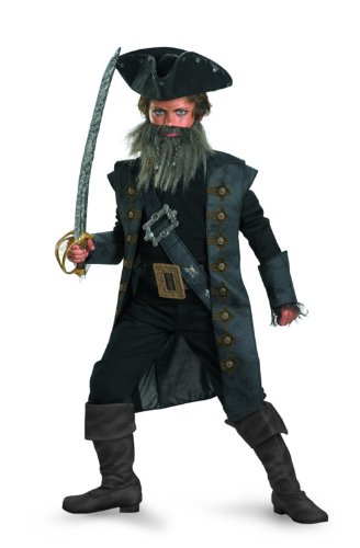Black Beard Deluxe Child Costume - XL (14-16) (Captain Jack Sparrow Child Deluxe Costume)