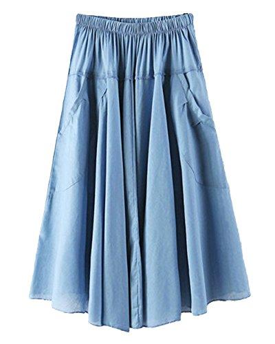 Jupe Femme Haute Taille Casual Pliss Longueur Genou Jupe Avec Poche Pour L'  Bleu Ciel