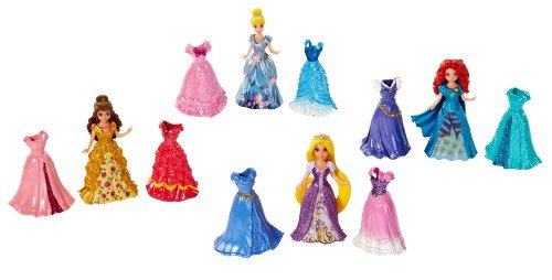Disney Princess Little Kingdom Magiclip Fashion Gift Set - Includes Belle, Merida, Cinderella, Rapunzel Dolls - 16 Pc Set (4 Dolls, 12 Magiclip Dresses) (Belle Gift Set)