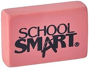 School Smart Latex Free Block Eraser - 1 1/2 In x 15/16 In x 3/8 In - Box of 40 - Pink